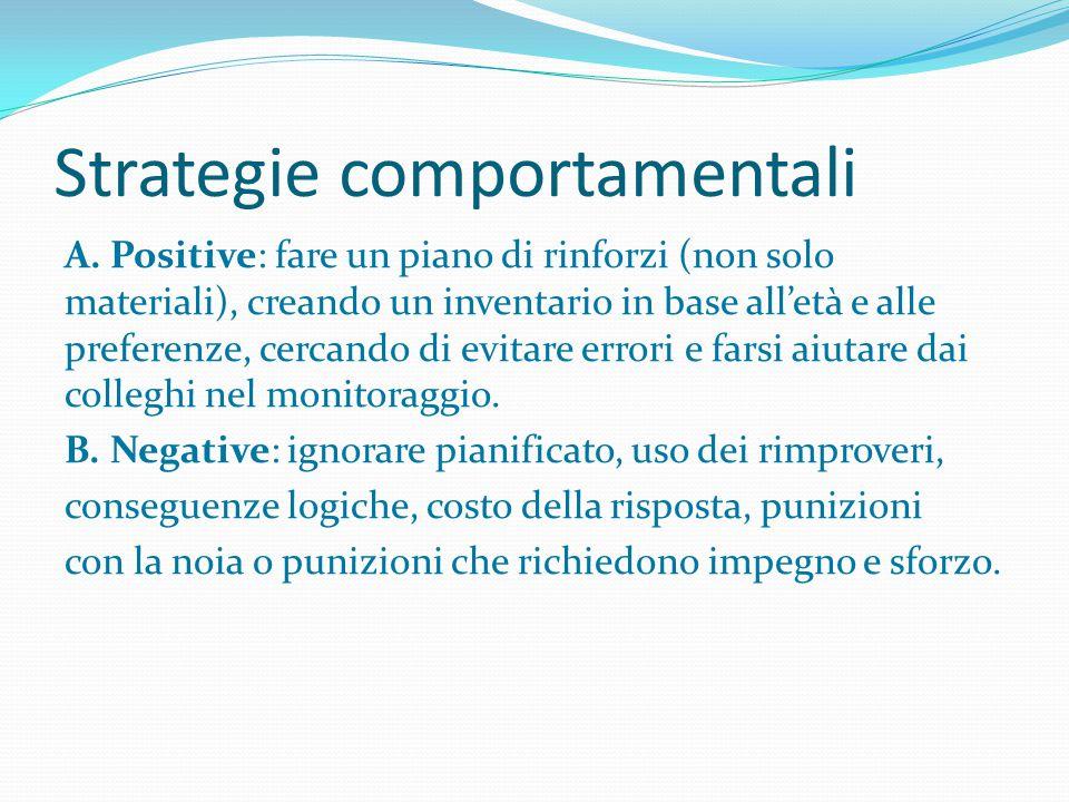 Strategie comportamentali A. Positive: fare un piano di rinforzi (non solo materiali), creando un inventario in base all'età e alle preferenze, cercan