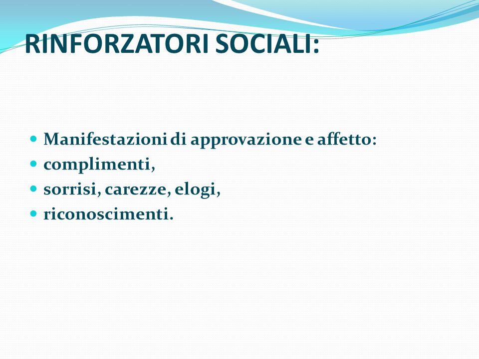 RINFORZATORI SOCIALI: Manifestazioni di approvazione e affetto: complimenti, sorrisi, carezze, elogi, riconoscimenti.