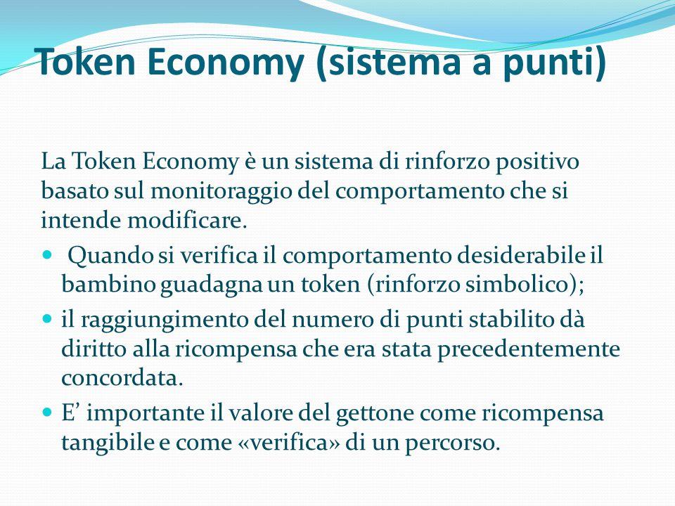Token Economy (sistema a punti) La Token Economy è un sistema di rinforzo positivo basato sul monitoraggio del comportamento che si intende modificare
