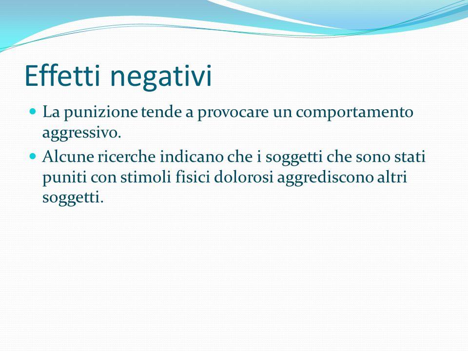 Effetti negativi La punizione tende a provocare un comportamento aggressivo. Alcune ricerche indicano che i soggetti che sono stati puniti con stimoli