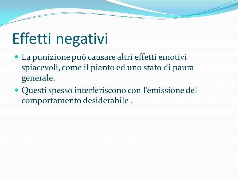 Effetti negativi La punizione può causare altri effetti emotivi spiacevoli, come il pianto ed uno stato di paura generale. Questi spesso interferiscon
