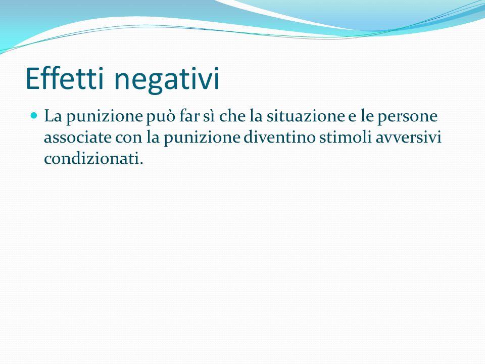 Effetti negativi La punizione può far sì che la situazione e le persone associate con la punizione diventino stimoli avversivi condizionati.