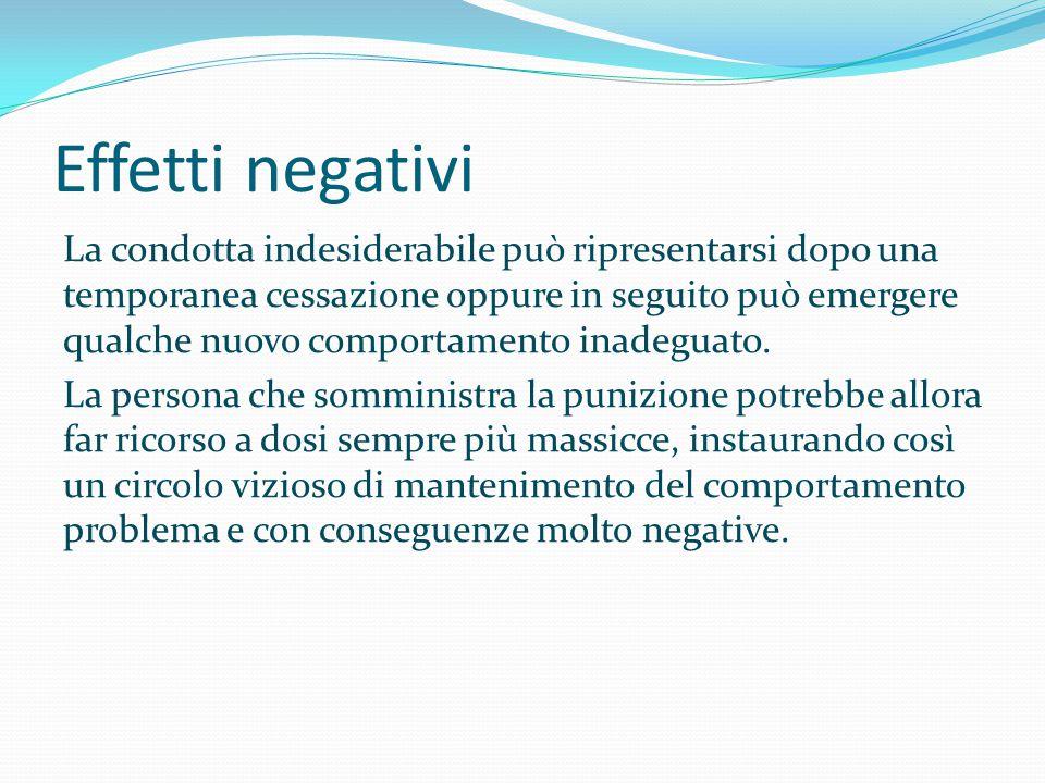 Effetti negativi La condotta indesiderabile può ripresentarsi dopo una temporanea cessazione oppure in seguito può emergere qualche nuovo comportament