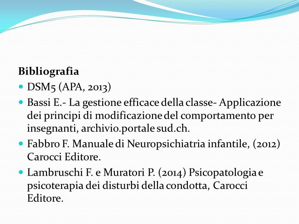 Bibliografia DSM5 (APA, 2013) Bassi E.- La gestione efficace della classe- Applicazione dei principi di modificazione del comportamento per insegnanti
