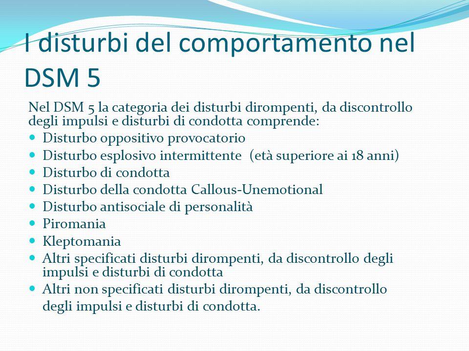 I disturbi del comportamento nel DSM 5 Nel DSM 5 la categoria dei disturbi dirompenti, da discontrollo degli impulsi e disturbi di condotta comprende: