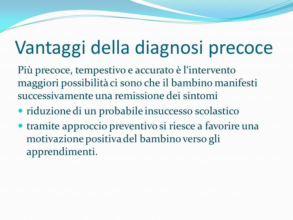 Vantaggi della diagnosi precoce Più precoce, tempestivo e accurato è l'intervento maggiori possibilità ci sono che il bambino manifesti successivament
