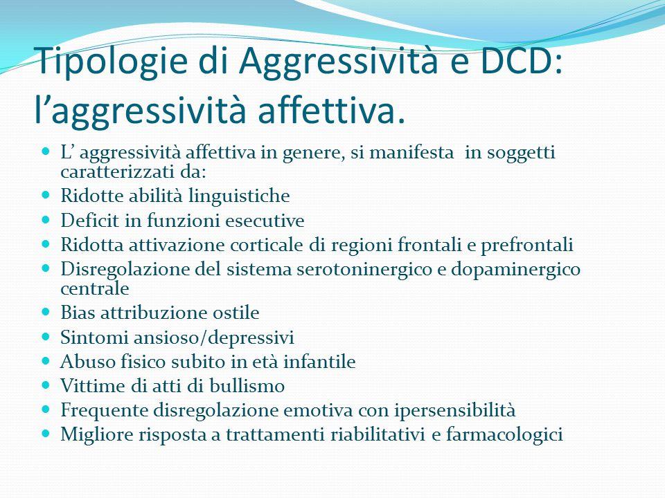 Tipologie di Aggressività e DCD: l'aggressività affettiva. L' aggressività affettiva in genere, si manifesta in soggetti caratterizzati da: Ridotte ab