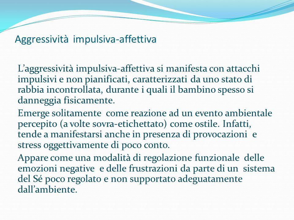 Aggressività impulsiva-affettiva L'aggressività impulsiva-affettiva si manifesta con attacchi impulsivi e non pianificati, caratterizzati da uno stato