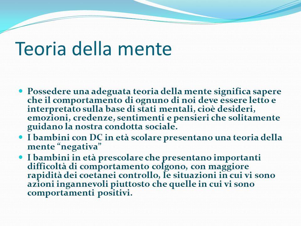 Teoria della mente Possedere una adeguata teoria della mente significa sapere che il comportamento di ognuno di noi deve essere letto e interpretato s