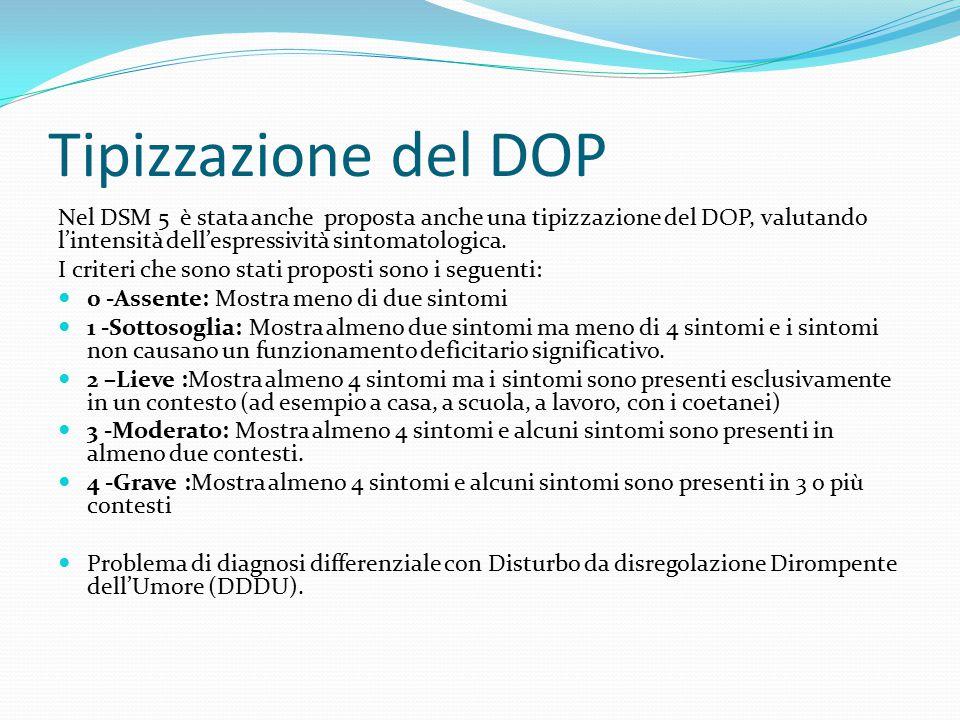 Tipizzazione del DOP Nel DSM 5 è stata anche proposta anche una tipizzazione del DOP, valutando l'intensità dell'espressività sintomatologica. I crite