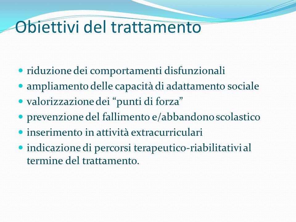 """Obiettivi del trattamento riduzione dei comportamenti disfunzionali ampliamento delle capacità di adattamento sociale valorizzazione dei """"punti di for"""