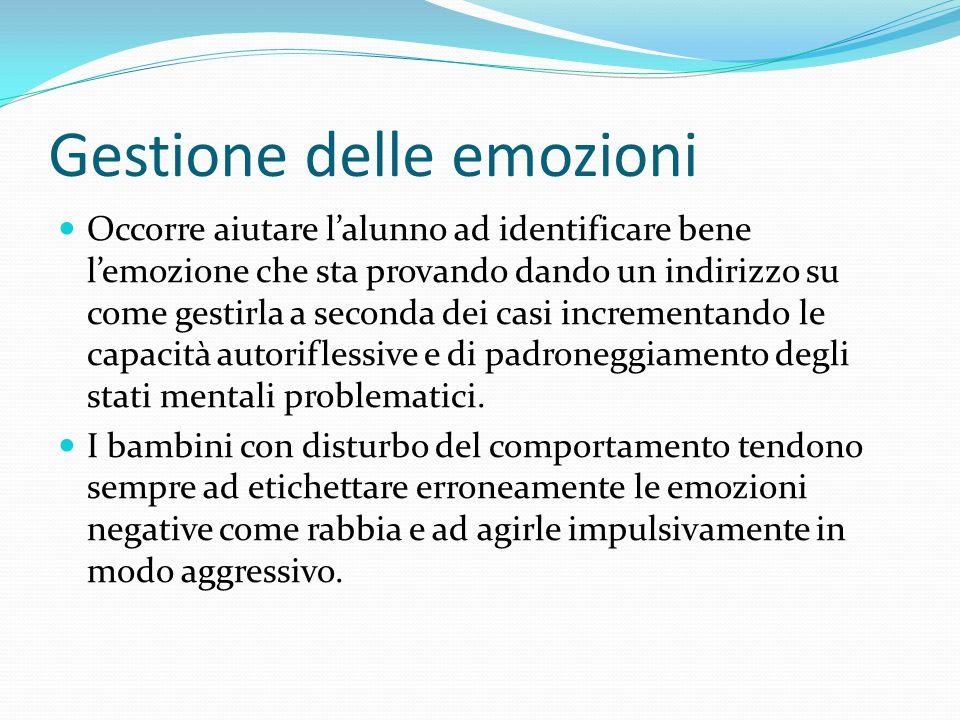 Gestione delle emozioni Occorre aiutare l'alunno ad identificare bene l'emozione che sta provando dando un indirizzo su come gestirla a seconda dei ca