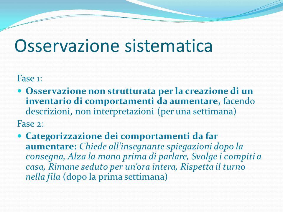 Osservazione sistematica Fase 1: Osservazione non strutturata per la creazione di un inventario di comportamenti da aumentare, facendo descrizioni, no
