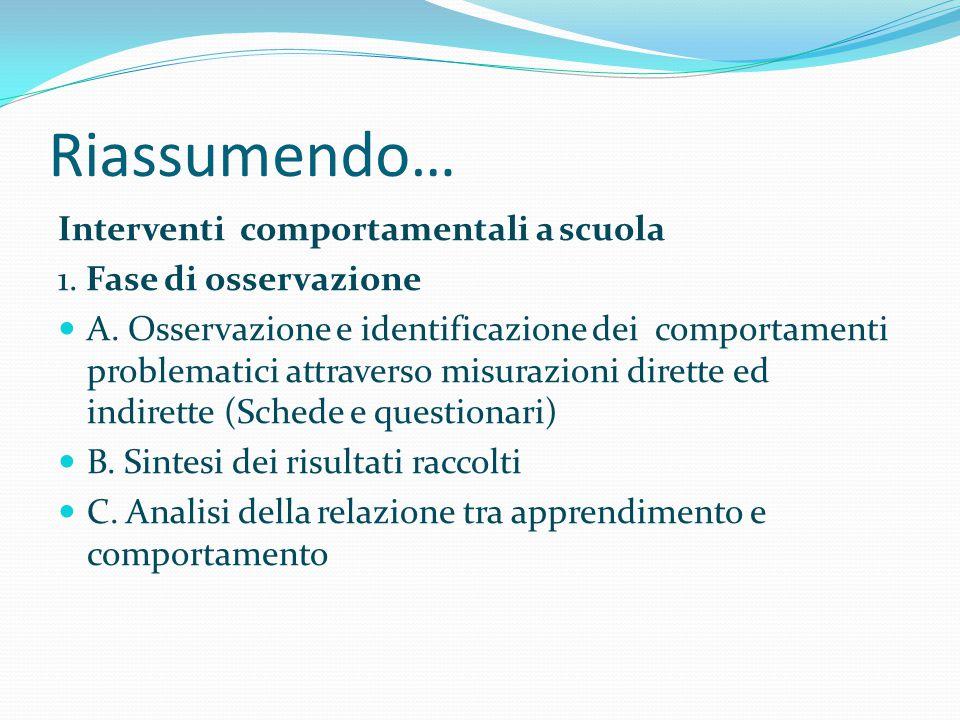 Riassumendo… Interventi comportamentali a scuola 1. Fase di osservazione A. Osservazione e identificazione dei comportamenti problematici attraverso m