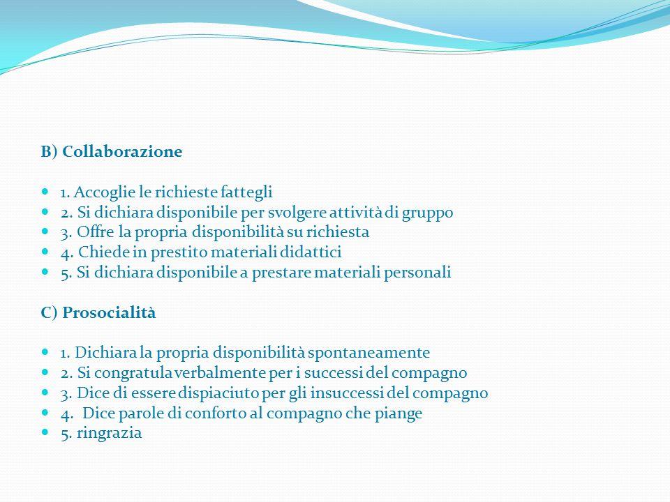 B) Collaborazione 1. Accoglie le richieste fattegli 2. Si dichiara disponibile per svolgere attività di gruppo 3. Offre la propria disponibilità su ri