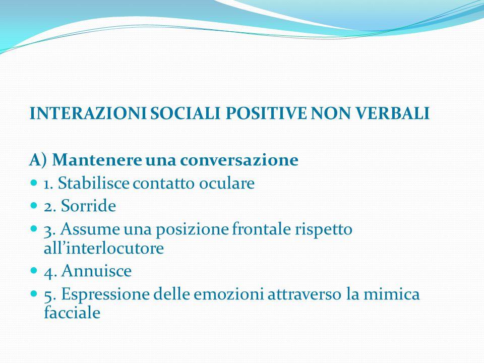INTERAZIONI SOCIALI POSITIVE NON VERBALI A) Mantenere una conversazione 1. Stabilisce contatto oculare 2. Sorride 3. Assume una posizione frontale ris