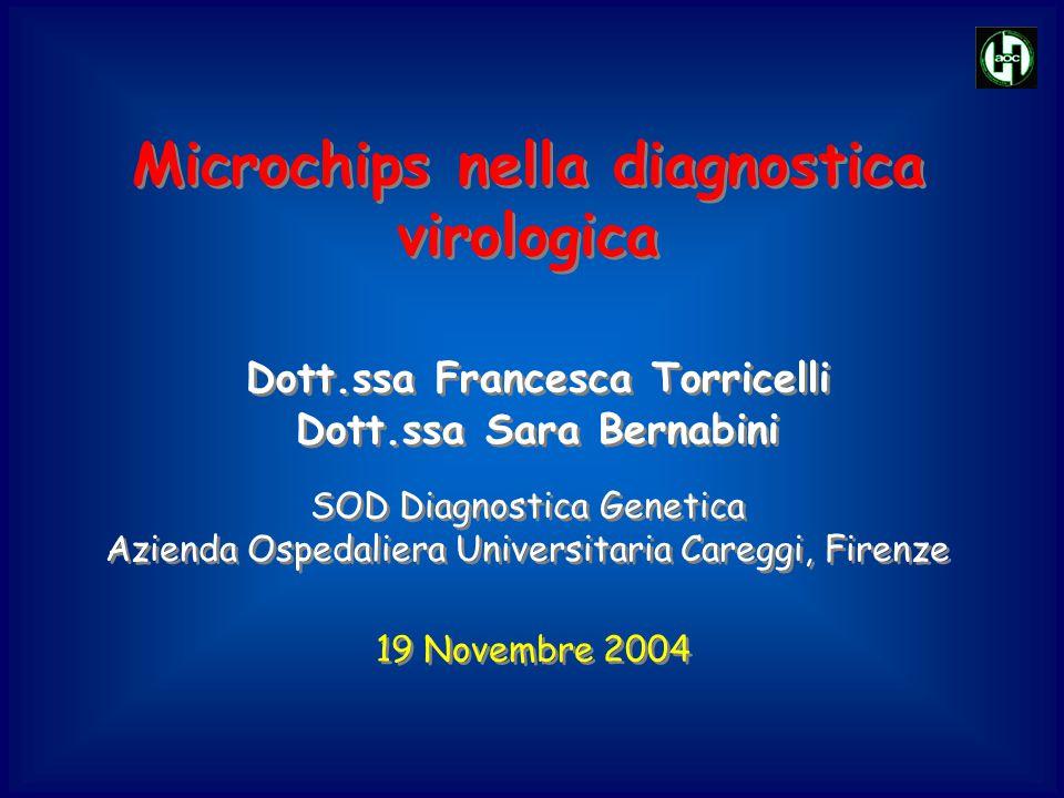 Microchips nella diagnostica virologica Dott.ssa Francesca Torricelli 19 Novembre 2004 SOD Diagnostica Genetica Azienda Ospedaliera Universitaria Care