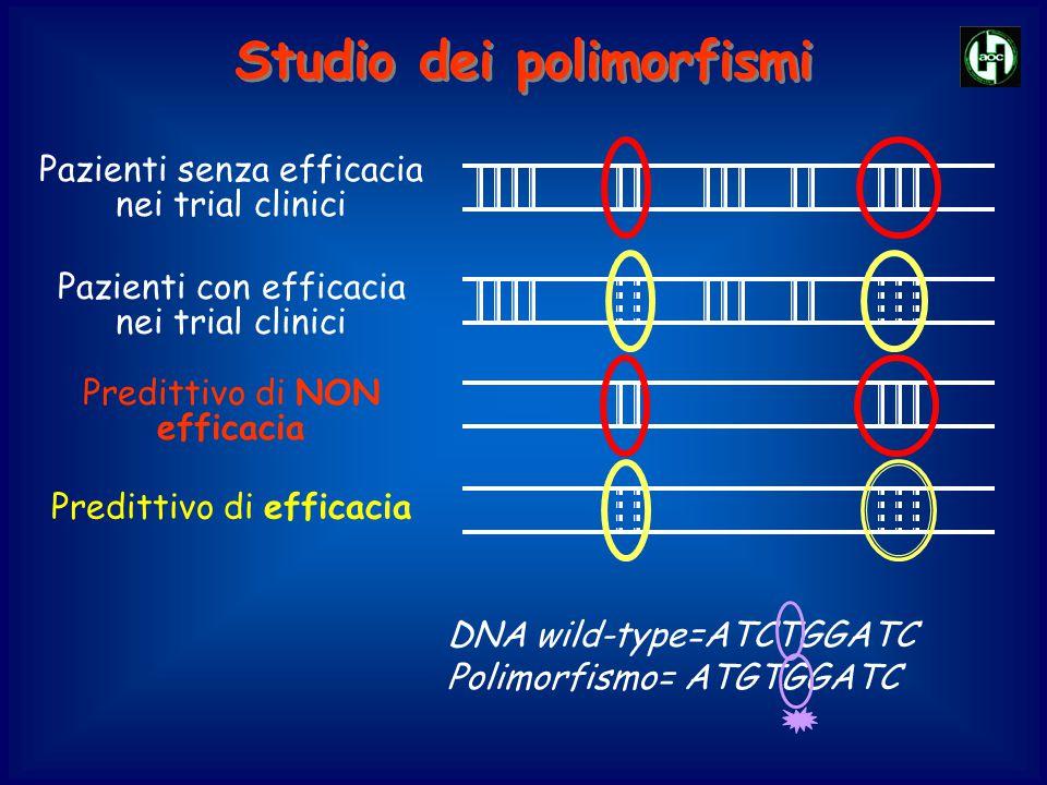 DNA wild-type=ATCTGGATC Polimorfismo= ATGTGGATC Predittivo di efficacia Pazienti senza efficacia nei trial clinici Pazienti con efficacia nei trial cl