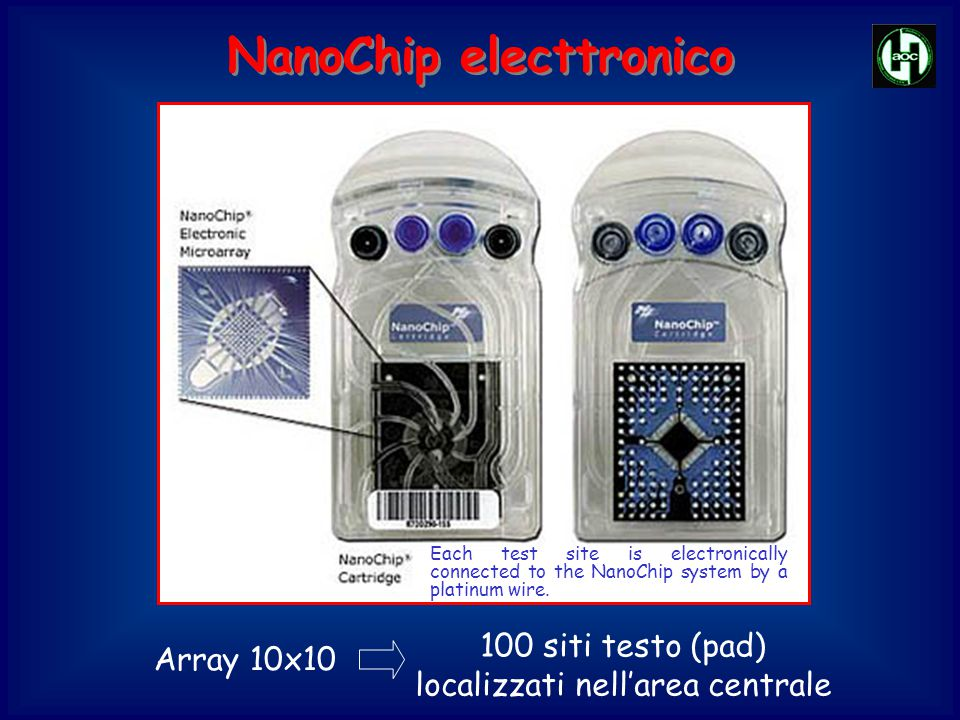 NanoChip electtronico Array 10x10 Each test site is electronically connected to the NanoChip system by a platinum wire.
