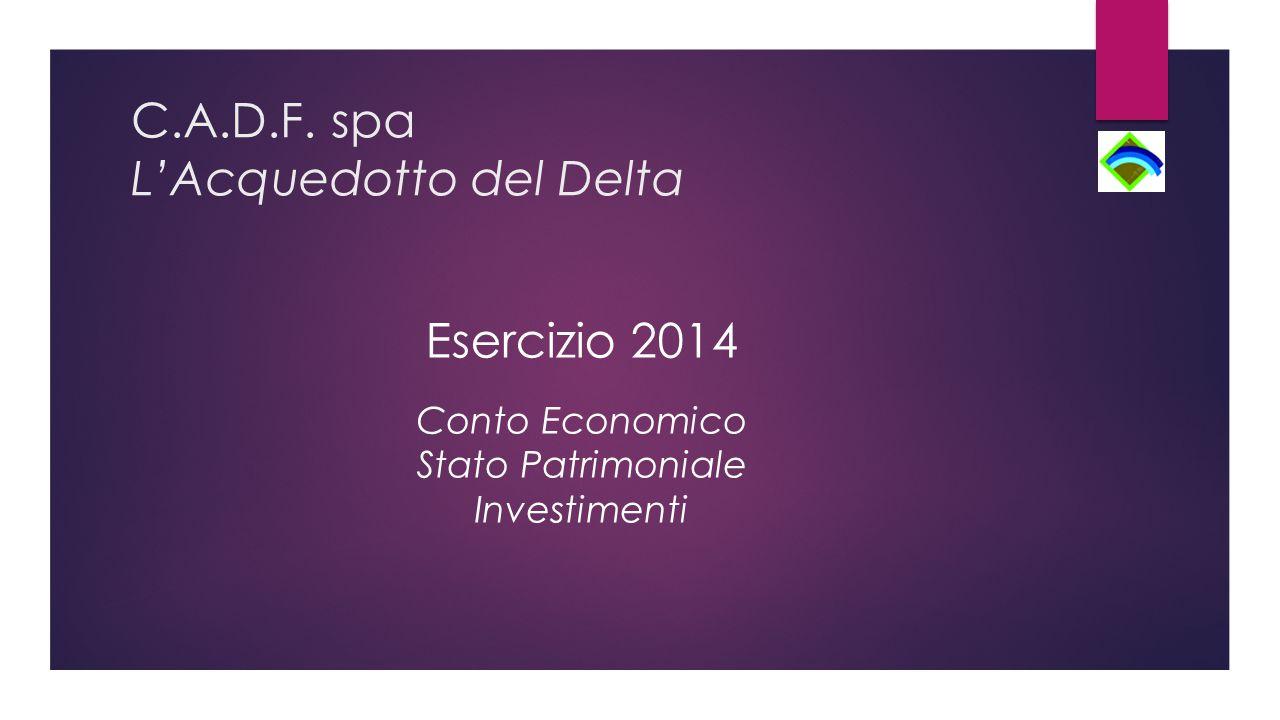 C.A.D.F. spa L'Acquedotto del Delta Esercizio 2014 Conto Economico Stato Patrimoniale Investimenti