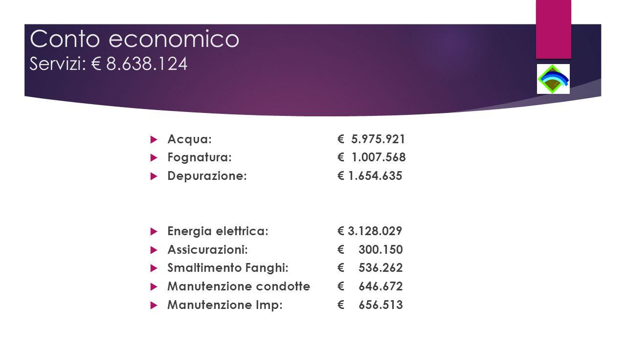 Conto economico Servizi: € 8.638.124  Acqua: € 5.975.921  Fognatura: € 1.007.568  Depurazione: € 1.654.635  Energia elettrica: € 3.128.029  Assicurazioni: € 300.150  Smaltimento Fanghi: € 536.262  Manutenzione condotte € 646.672  Manutenzione Imp: € 656.513