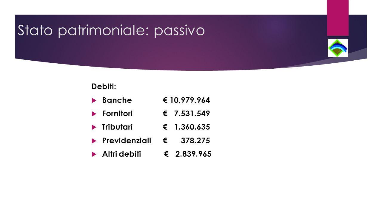 Stato patrimoniale: passivo Debiti:  Banche € 10.979.964  Fornitori € 7.531.549  Tributari € 1.360.635  Previdenziali€ 378.275  Altri debiti € 2.839.965