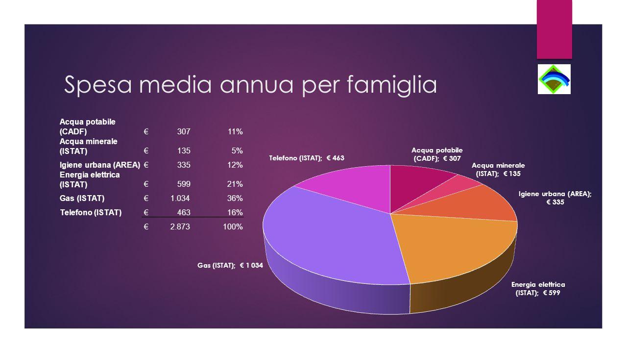 Spesa media annua per famiglia Acqua potabile (CADF) € 30711% Acqua minerale (ISTAT) € 1355% Igiene urbana (AREA) € 33512% Energia elettrica (ISTAT) € 59921% Gas (ISTAT) € 1.03436% Telefono (ISTAT) € 46316% € 2.873100%