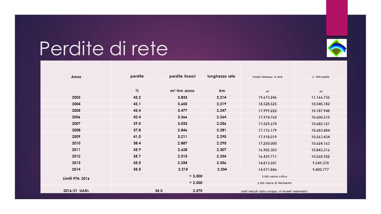Perdite di rete Anno perditeperdite linearilunghezza rete Totale immesso in reteV.