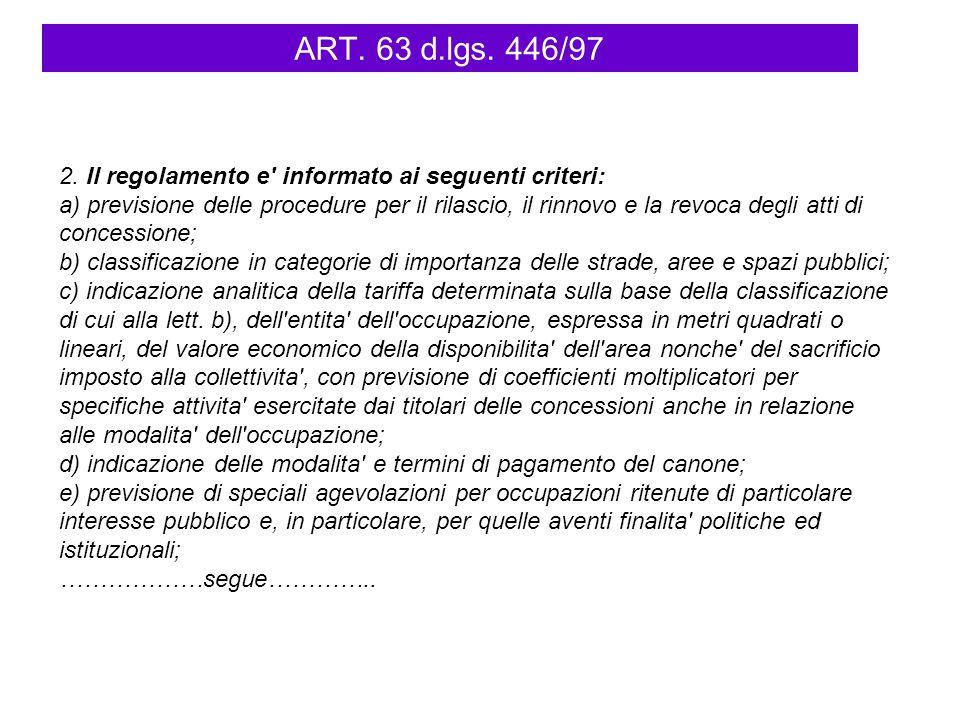 ART. 63 d.lgs. 446/97 2. Il regolamento e' informato ai seguenti criteri: a) previsione delle procedure per il rilascio, il rinnovo e la revoca degli