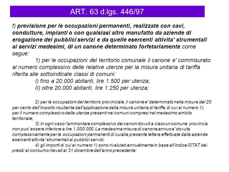 ART. 63 d.lgs. 446/97 f) previsione per le occupazioni permanenti, realizzate con cavi, condutture, impianti o con qualsiasi altro manufatto da aziend