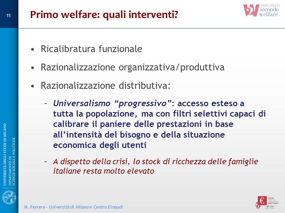 """Primo welfare: quali interventi? Ricalibratura funzionale Razionalizzazione organizzativa/produttiva Razionalizzazione distributiva: –Universalismo """"p"""