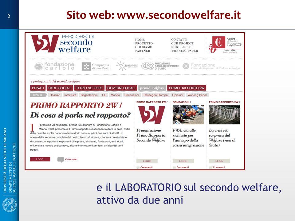 Sito web: www.secondowelfare.it e il LABORATORIO sul secondo welfare, attivo da due anni 2
