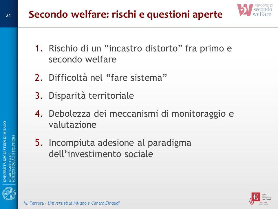"""Secondo welfare: rischi e questioni aperte 1.Rischio di un """"incastro distorto"""" fra primo e secondo welfare 2.Difficoltà nel """"fare sistema"""" 3.Disparità"""