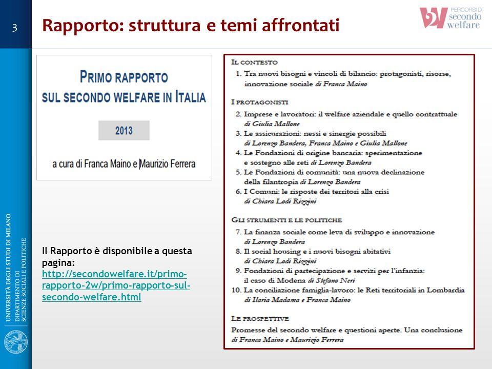 Rapporto: struttura e temi affrontati Il Rapporto è disponibile a questa pagina: http://secondowelfare.it/primo- rapporto-2w/primo-rapporto-sul- secon