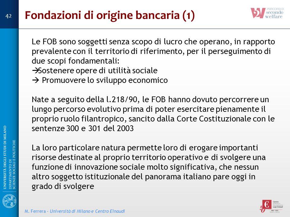 Fondazioni di origine bancaria (1) Le FOB sono soggetti senza scopo di lucro che operano, in rapporto prevalente con il territorio di riferimento, per
