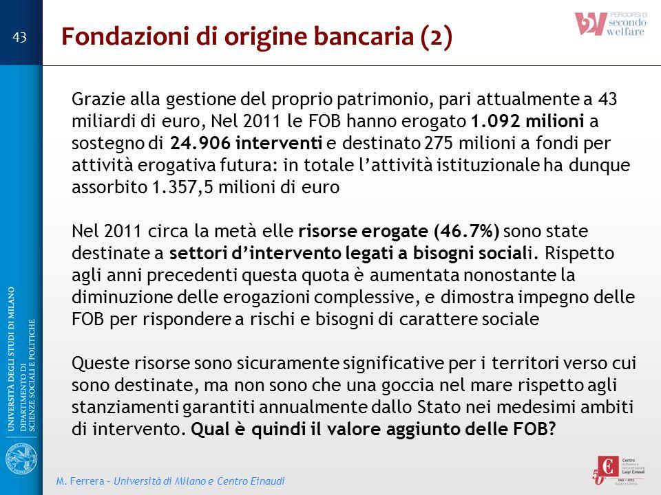 Grazie alla gestione del proprio patrimonio, pari attualmente a 43 miliardi di euro, Nel 2011 le FOB hanno erogato 1.092 milioni a sostegno di 24.906
