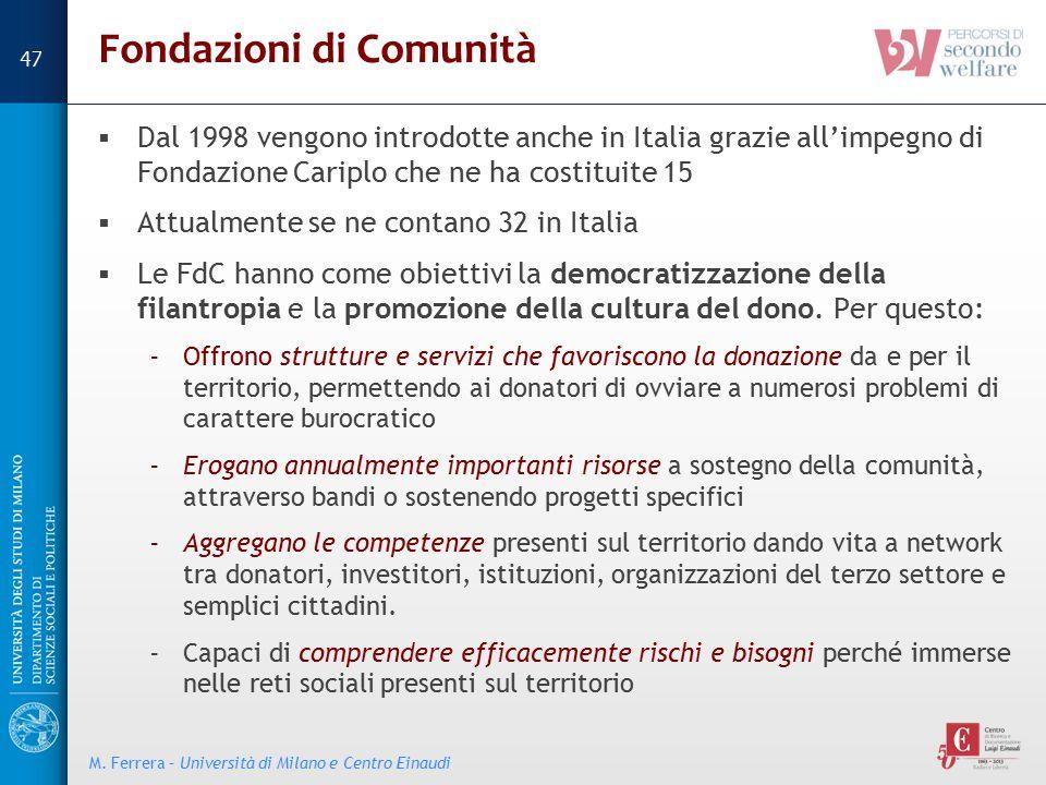 Fondazioni di Comunità  Dal 1998 vengono introdotte anche in Italia grazie all'impegno di Fondazione Cariplo che ne ha costituite 15  Attualmente se