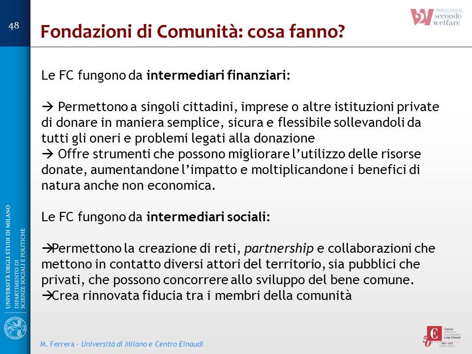 Fondazioni di Comunità: cosa fanno? Le FC fungono da intermediari finanziari:  Permettono a singoli cittadini, imprese o altre istituzioni private di