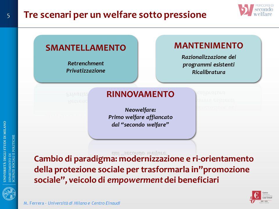 """Tre scenari per un welfare sotto pressione Cambio di paradigma: modernizzazione e ri-orientamento della protezione sociale per trasformarla in""""promozi"""