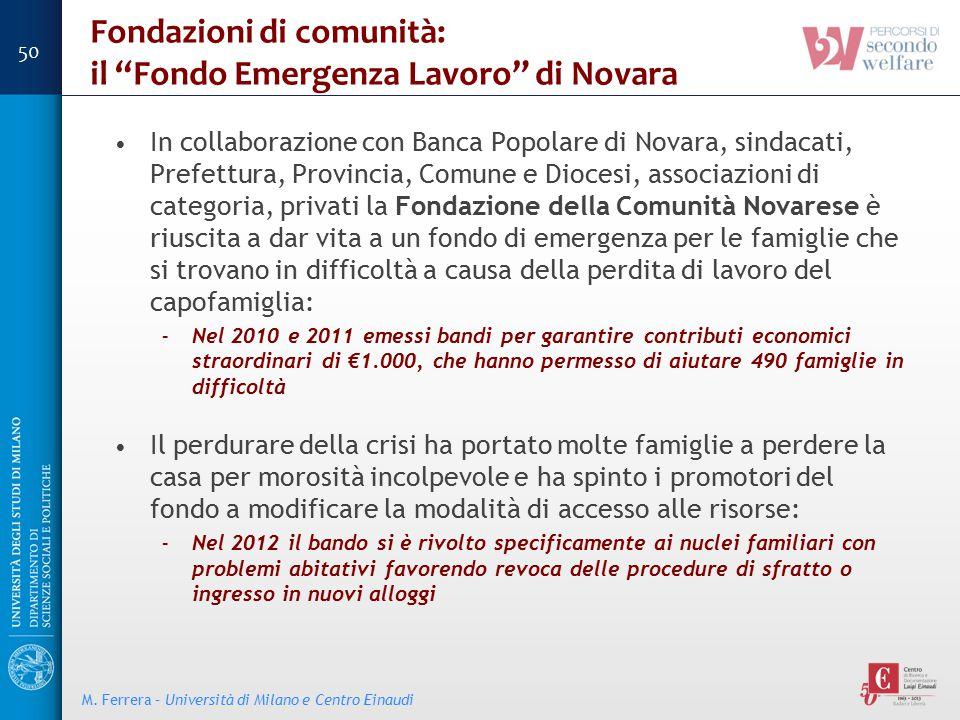 """Fondazioni di comunità: il """"Fondo Emergenza Lavoro"""" di Novara In collaborazione con Banca Popolare di Novara, sindacati, Prefettura, Provincia, Comune"""