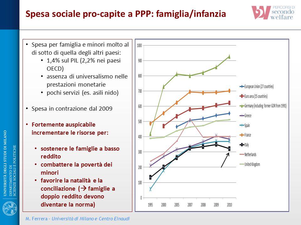 Spesa per famiglia e minori molto al di sotto di quella degli altri paesi: 1,4% sul PIL (2,2% nei paesi OECD) assenza di universalismo nelle prestazio