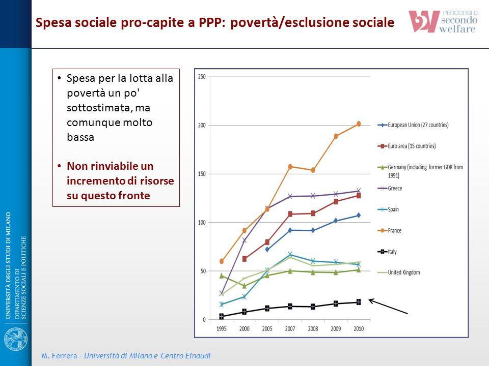Spesa per la lotta alla povertà un po' sottostimata, ma comunque molto bassa Non rinviabile un incremento di risorse su questo fronte Spesa sociale pr