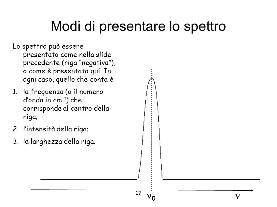 """17 Modi di presentare lo spettro 0 Lo spettro può essere presentato come nella slide precedente (riga """"negativa""""), o come è presentato qui. In ogni ca"""