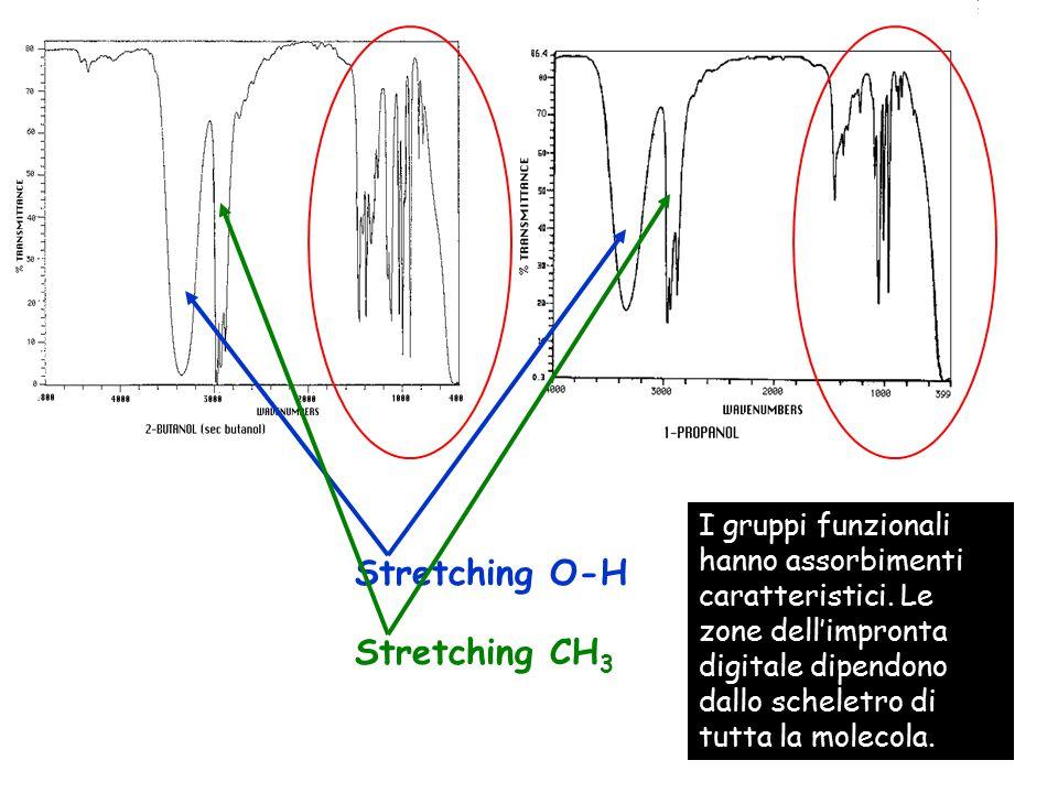 Stretching O-H Stretching CH 3 I gruppi funzionali hanno assorbimenti caratteristici. Le zone dell'impronta digitale dipendono dallo scheletro di tutt