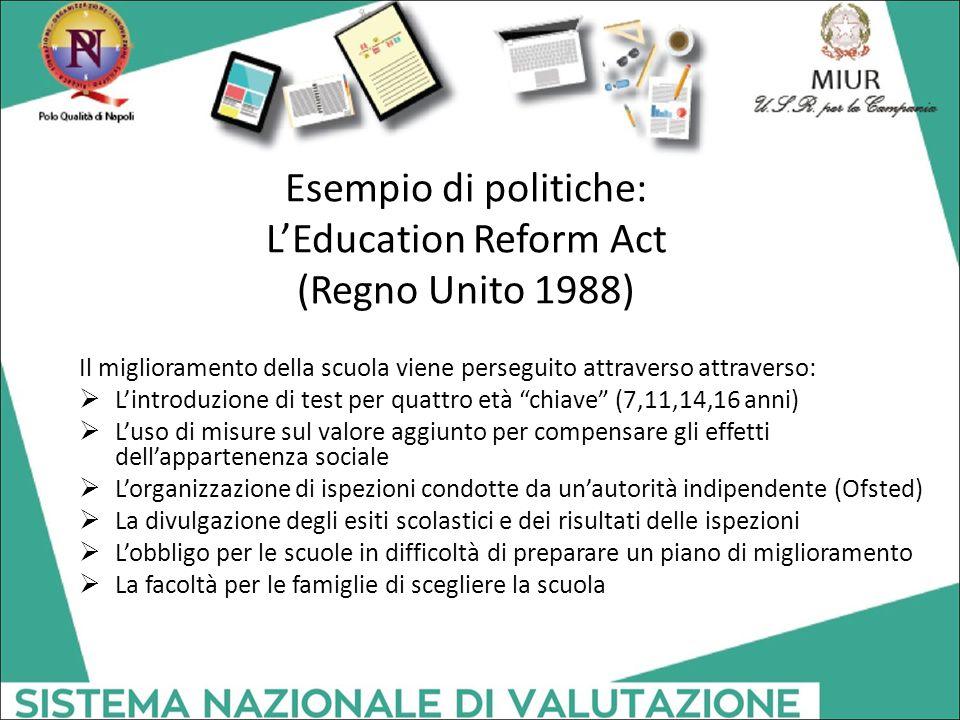 Esempio di politiche: L'Education Reform Act (Regno Unito 1988) Il miglioramento della scuola viene perseguito attraverso attraverso:  L'introduzione