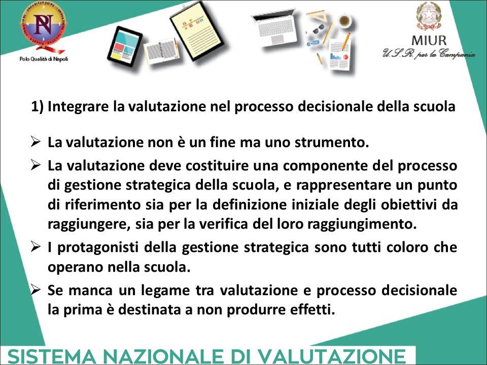 1) Integrare la valutazione nel processo decisionale della scuola  La valutazione non è un fine ma uno strumento.  La valutazione deve costituire un