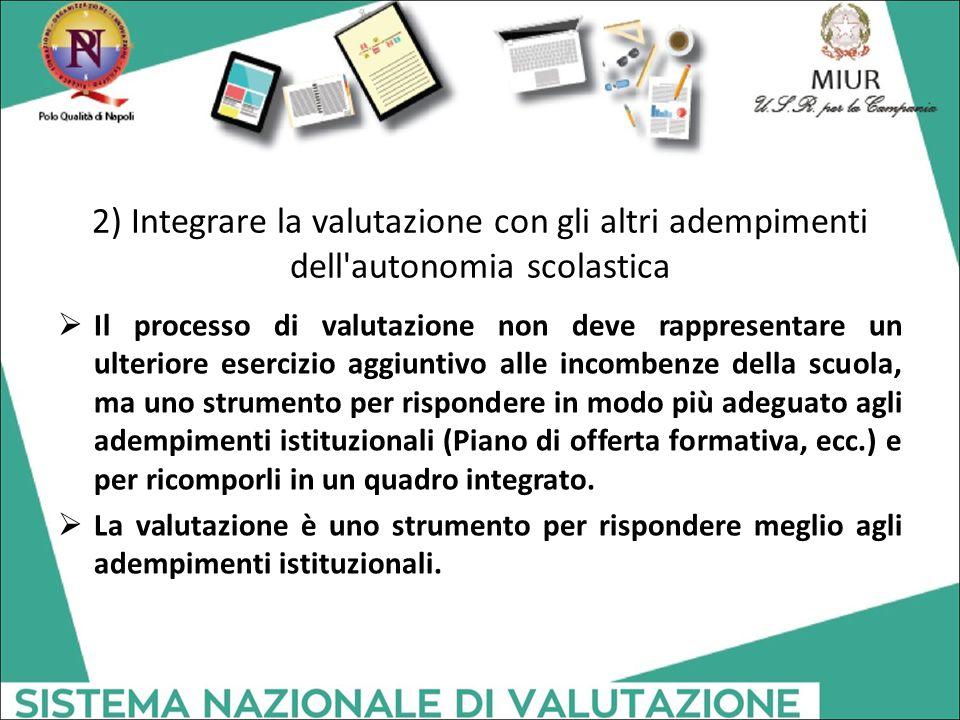 2) Integrare la valutazione con gli altri adempimenti dell'autonomia scolastica  Il processo di valutazione non deve rappresentare un ulteriore eserc