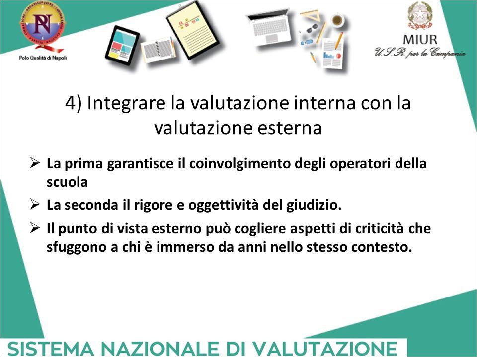 4) Integrare la valutazione interna con la valutazione esterna  La prima garantisce il coinvolgimento degli operatori della scuola  La seconda il ri