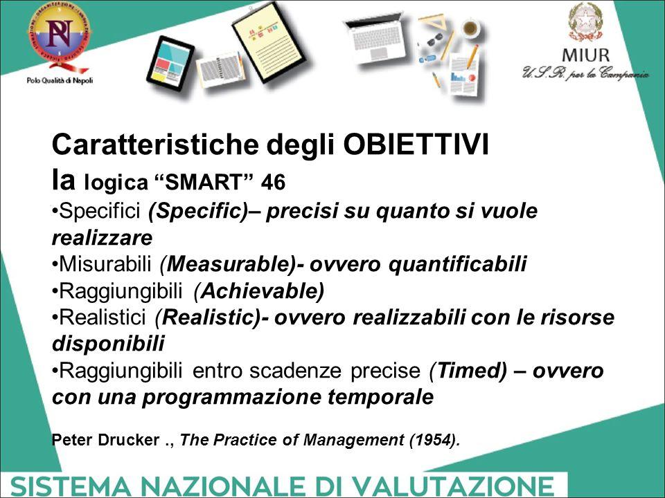 """Caratteristiche degli OBIETTIVI la logica """"SMART"""" 46 Specifici (Specific)– precisi su quanto si vuole realizzare Misurabili (Measurable)- ovvero quant"""