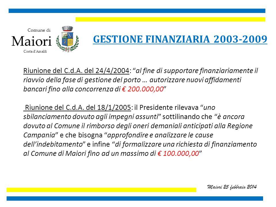 Comune di Maiori Costa d'Amalfi Maiori 25 febbraio 2014 GESTIONE FINANZIARIA 2003-2009 Riunione del C.d.A.